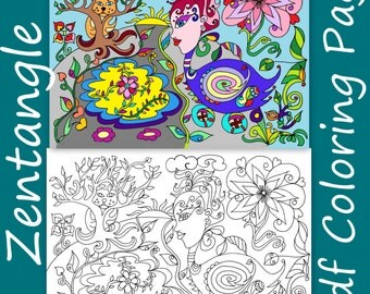 Zentangle Inspired Heart Coloring Page Adult Coloring Book