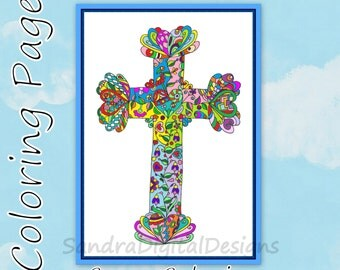 free cross colouring page wall decor christian art zentangle adult coloring christmas coloring page spring summer colouring