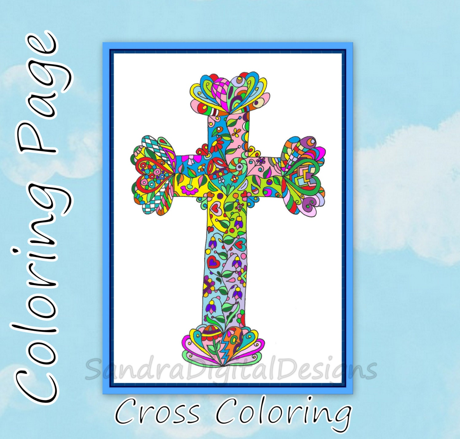 Coloring pages for adults crosses - This Is A Digital File