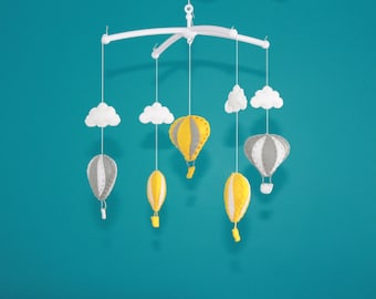 SALE!!! air balloon mobile hot air balloon cot mobile decorations grey yellow baby nursery decor hot air balloons