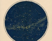 Constellation Map Celestial Chart Print in Circular format in Blue