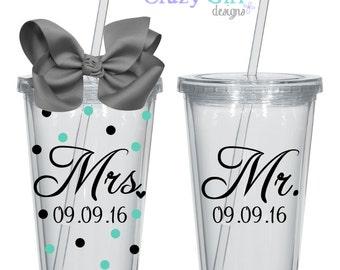 Personalized Wedding Tumblers with Straw 16 oz - Bride & Groom 16 oz. Acrylic Cup BPA Free Custom