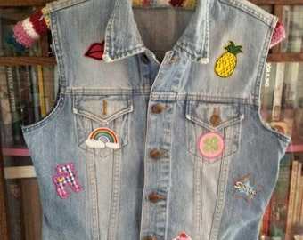 Vintage nineties jeans vest with colorfull patches