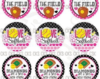 "1"" Digital Bottle Cap Sheet **INSTANT DOWNLOAD** Pink Softball"