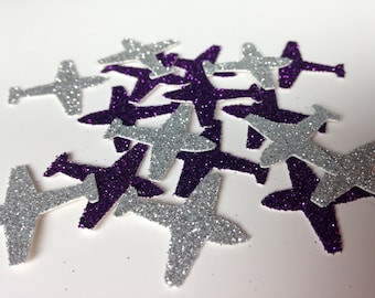 Aeroplane Glitter Table Confetti - Bon Voyage Party Decoration - Die Cut Cardstock - Travel Planes Holiday