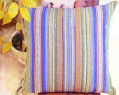 Colorful handwoven throw pillow cover 20x20 – Handloom embroidery stripe cushion cover – Rustic accent chair – Indoor outdoor pillowcase