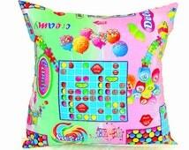 Rainbow candy throw pillow sham – Baby custom pillow cover 22x22 20x20 18x18 – Reversible kid cushion cover– Nursery children bedroom pillow