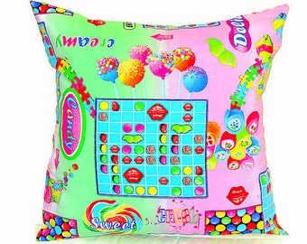 Rainbow candy throw pillow sham – Baby custom pillow cover 22x22 20x20 18x18 – Reversible kid cushion cover– Nursery children bedroom pillow