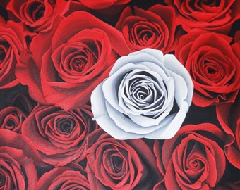 White and Red Roses Original Acrylic Canvas Painting