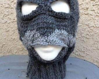 MUSTACHIO - charcoal - knitted ski/lucha mask