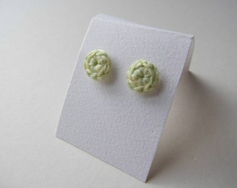 Crochet Small Stud Earrings- Lemon and Lime