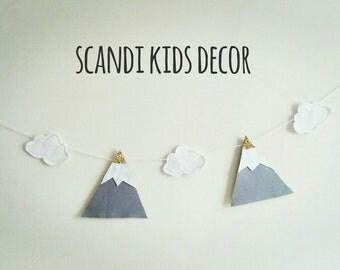 Nursery decor, mountain nursery, mountain decor, mountain banner, mountain bunting, felt nursery garland, adventure nursery, boho nursery