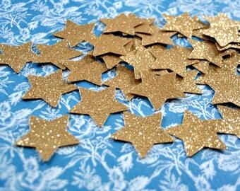 Gold star confetti, Glitter gold paper stars 50 pcs GOLD paper stars, birthday party decor, Stars die cut, Table confetti