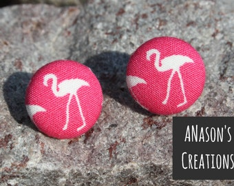 Pink Flamingo Fabric Covered Button Stud Earrings