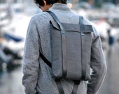 Water resistant knapsack for him or for her, Canvas and leather rucksack, Custom rucksack 201