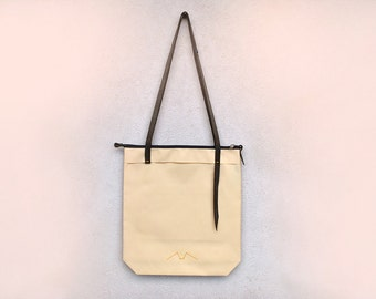 Shoulder tote bag, beige, canvas leather tote bag, womens carryall, minimalist shoulder bag, zipper tote bag
