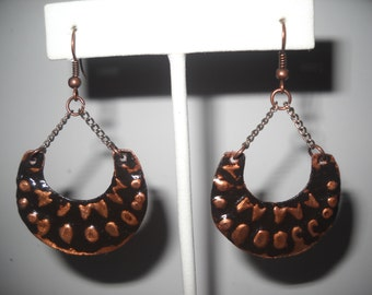 Antiqued, Stamped Copper Dangle Earrings