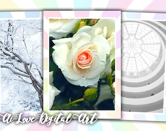 Instant download, I Love White digital collage sheet, download card making digital printable images greeting cards, aceo cards, scrapbooking