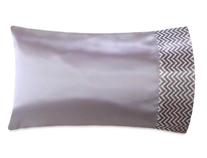 Chevron & Silver Satin Pillowcase, Platinum Silver Satin Pillow ...