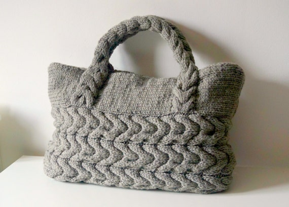Knitted Shopping Bag Pattern : Grey Cable Bag Knitting Pattern Knit Bag Pattern Bag by isWoolish