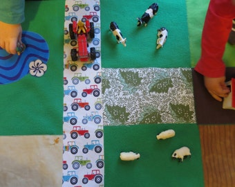 Farm play mat. Double sided. Handmade fabric playmat. Star and space play mat on reverse.