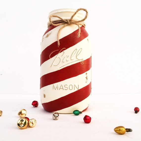 Hand-Painted Candy Cane Ball Mason Jar, Christmas Decor, Candy Cane Decor, Christmas Gift, Christmas, Christmas Present, Christmas Mason Jar