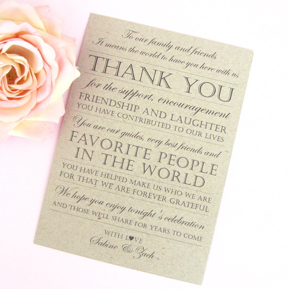 Wedding reception thank you card 10 thank you cards for Thank you cards for wedding