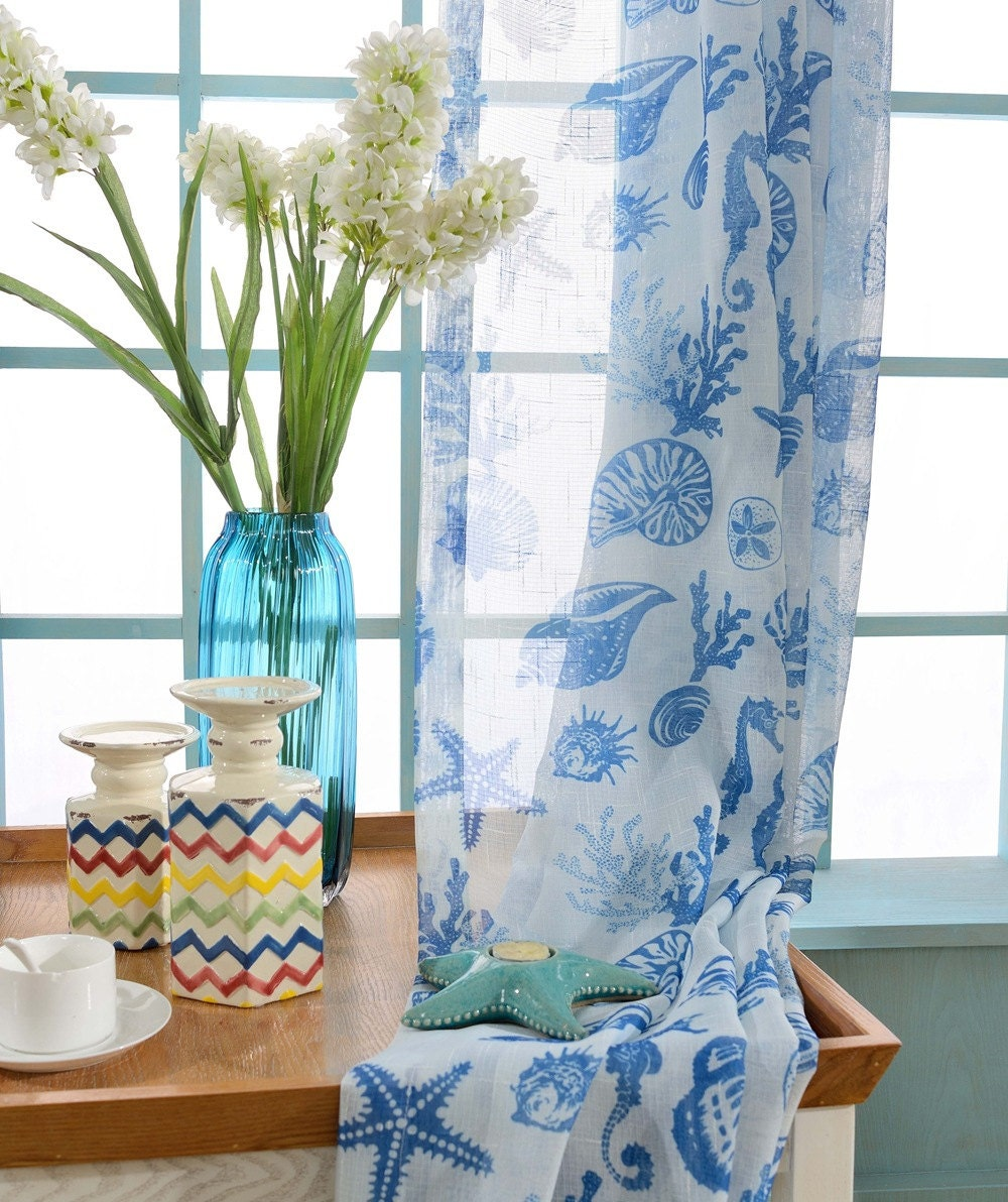 Octopus shower curtain cafe press - Two Custom White And Blue Nautical Sheer Curtains Made To Order Sea Beach Ocean Theme Starfish Seahorse Seashell Coral