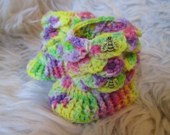 0-3m baby pixie booties, crocodile stitch booties, dragon scale booties, floral baby booties, yellow baby booties, OOAK baby gift