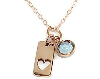 Gold birthstone necklace, personalized necklace, gift for her, personalized gift, gold heart necklace