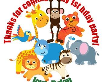 Custom Zoo Stickers - Zoo Animals Birthday Party Stickers