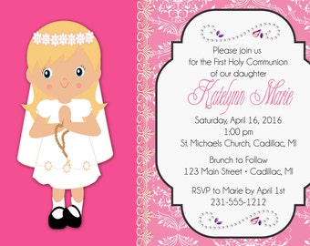 1st Communion Invitation - Praying Girl Pink First Communion Invite