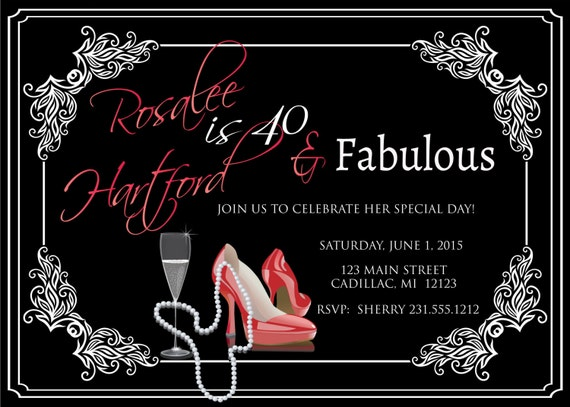 Ladies 40th Birthday Invitation Adult Forty Fabulous Red – 40th Birthday Photo Invitations