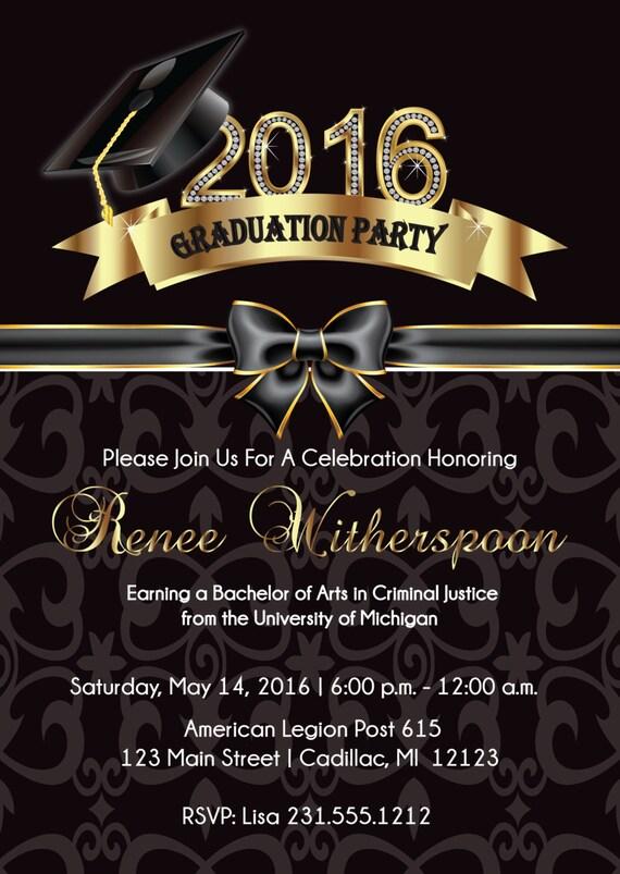 2016 Graduation Invitation Elegant Graduation Announcement