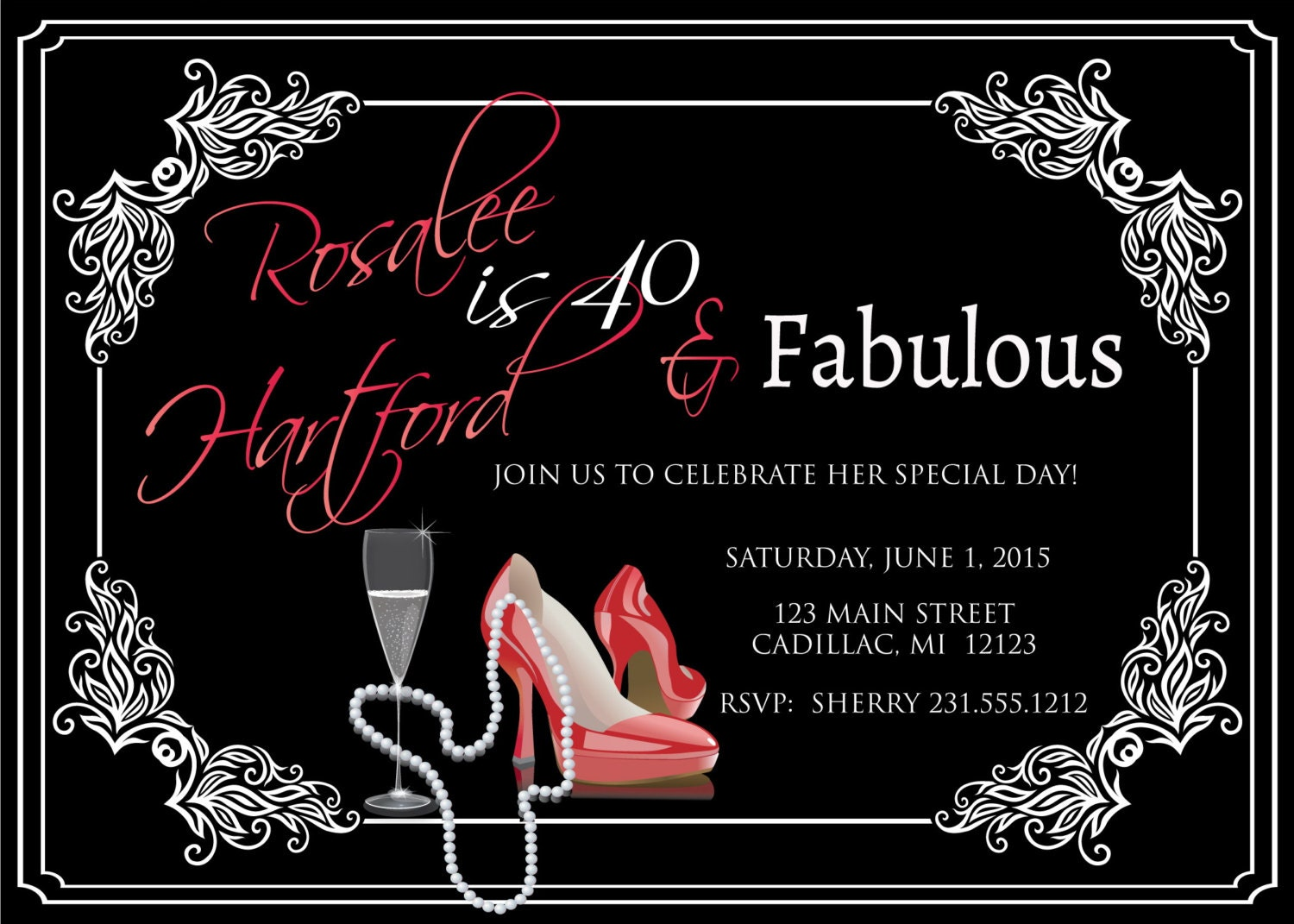 Ladies 40th Birthday Invitation Adult Forty & Fabulous Red - photo#8