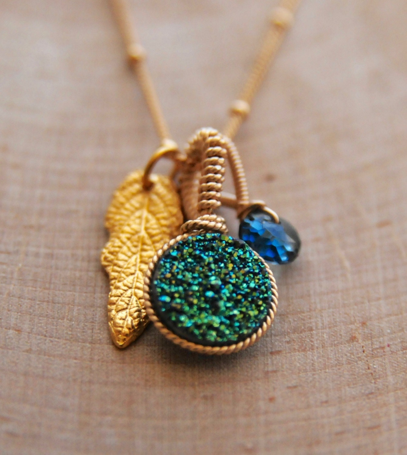 Woodland Druzy and Leaf Necklace/ Aqua Druzy Fall Jewelry/Gold Fall Jewelry/ Bare and Me Fall Charm Collection/ Druzy and Woodlands Jewelry