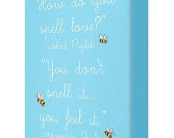 CANVAS PRINT: How Do You Spell Love Winnie The Pooh Canvas Quote (Option Blue)