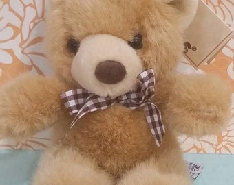 """Russ 1996 Tuff Teddy Bear 7"""" with Brown Gingham Bow and with Tag"""