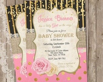 Girl Baby Shower Invitation, Pink, Gold Glitter, Confetti Invitation, Invite, Vintage Baby Shower Invitation, Printable, Customize, 5x7