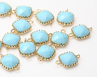BULK - Sky blue Square Glass Connector Polished Gold -Plated - 20 Pieces [G0003-PGSB]