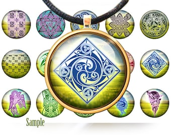 """A treasury of celtic knots (2) - Digital bottle cap images - 1'' circles, 25mm, 30mm, 1.25"""", 1.5"""" for Jewelry Making, BUY 2 GET 1 FREE"""