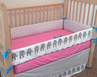 Pink Elephant Crib Bedding/teal elephant crib set/pink turqoise elephant baby bedding set/grey elephant crib bedding