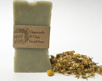 Chamomile and Clay Facial Soap -All Natural Soap, Handmade Soap, Unscented Soap, Vegan Soap