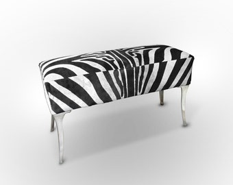 Zebra Cowhide Bench. Amazing Design! Unique!