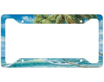 beach license plate frame surf car tag frame beach license plate holder ocean palm trees waves license plate frame 30 3410