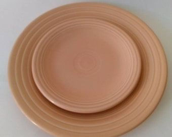 Vintage Fiestaware Apricot  Post 86 Luncheon Plate w/Bread and Butter Plate. Vintage Fiesta Dinnerware By Homer Laughlin. Lot of 2