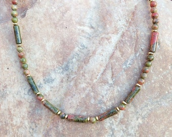 Unakite Necklace/Beaded Necklace/Handmade/choker