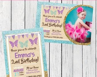 Butterfly birthday invitation- Burlap & Glitter ***Digital File*** (Butterfly-GLITTER)