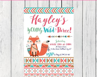 Young Wild & any Age! Tribal Fox Personalized birthday  invitation- ***Digital File*** (Tribal-Orange)