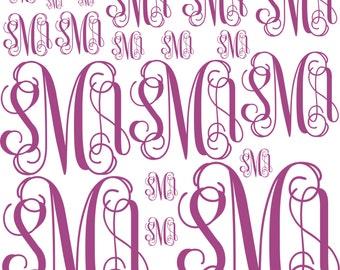 18+Personalized Monogram decals on 12 x 12 Vinyl Sheet, Yeti Monogram Decal, Assorted Monogram Decals